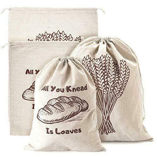 Linen Bread Bags Pack of 4 Large and Extra Large Natural Unbleached Bread