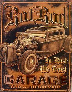 Placa-Metal-Vintage-Hot-Rod-Rat-Rod-Garage-40-X-30CM