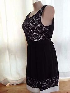 Crossroads-Lined-BLACK-LAce-over-tie-back-dinner-party-dress-size-18-NEW