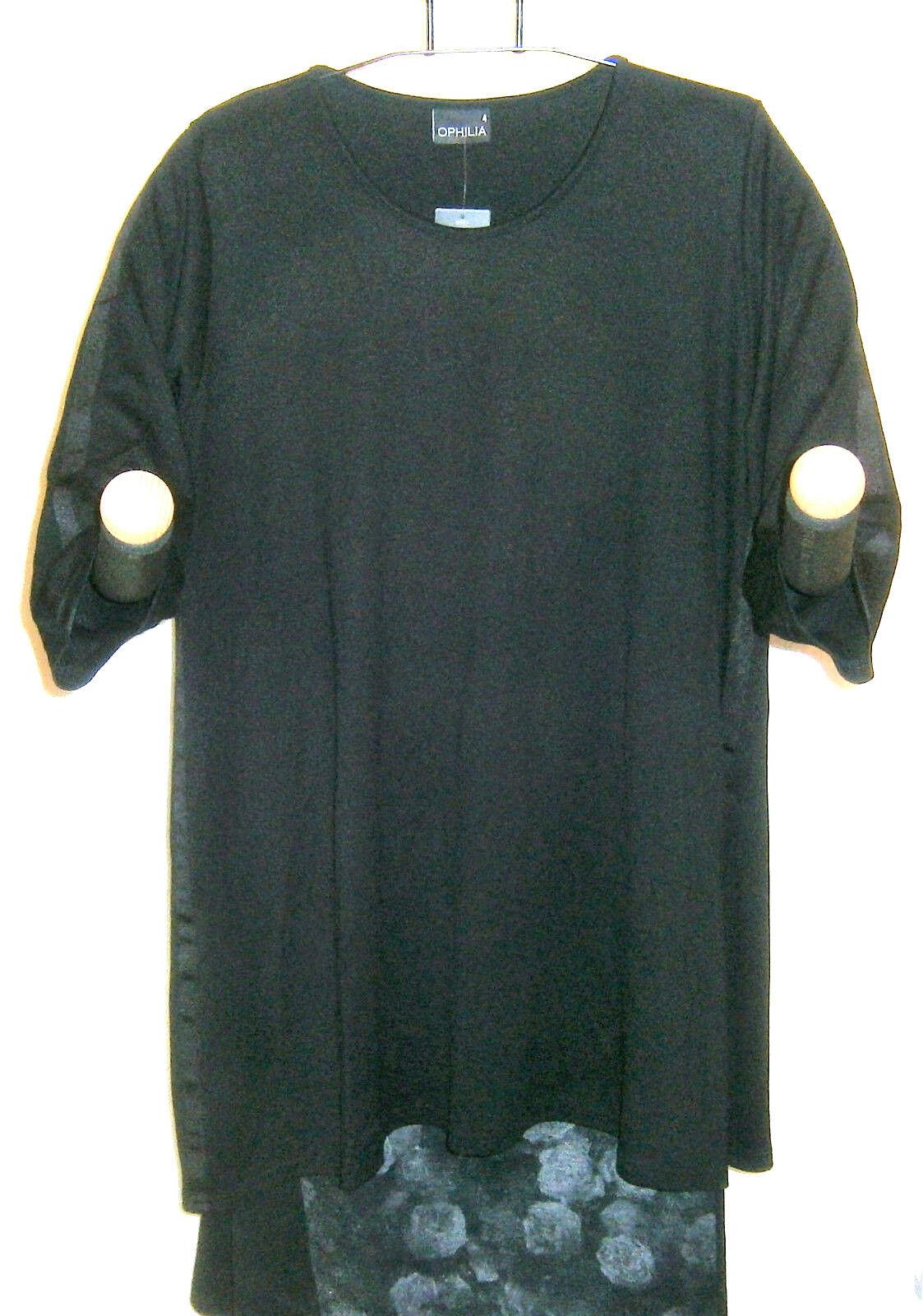 Ophilia  Lagenlook Kleid Tunika black A-Linie 3 4 Arm Gr. 4 (46 - 48) NEU