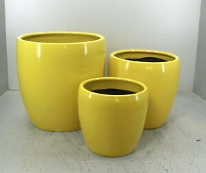 Glazed Ceramic Pot,Brightly colored,different size, Yellow