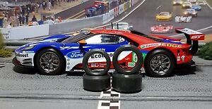 1-32-PAULGAGE-SLOT-CAR-TIRE-2pr-TUNING-SET-Front-Rears-fits-Carrera-Ford-GT