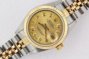Rolex-Datejust-Ladies-Steel-amp-Gold-Gold-Diamond-Watch-Automatic-with-Rolex-Box