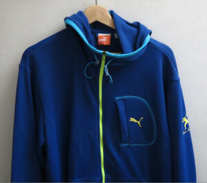 ad49f4794089 Puma Men Warm Up Blue Sport Jacket Runners Hoodie Large Authentic ...