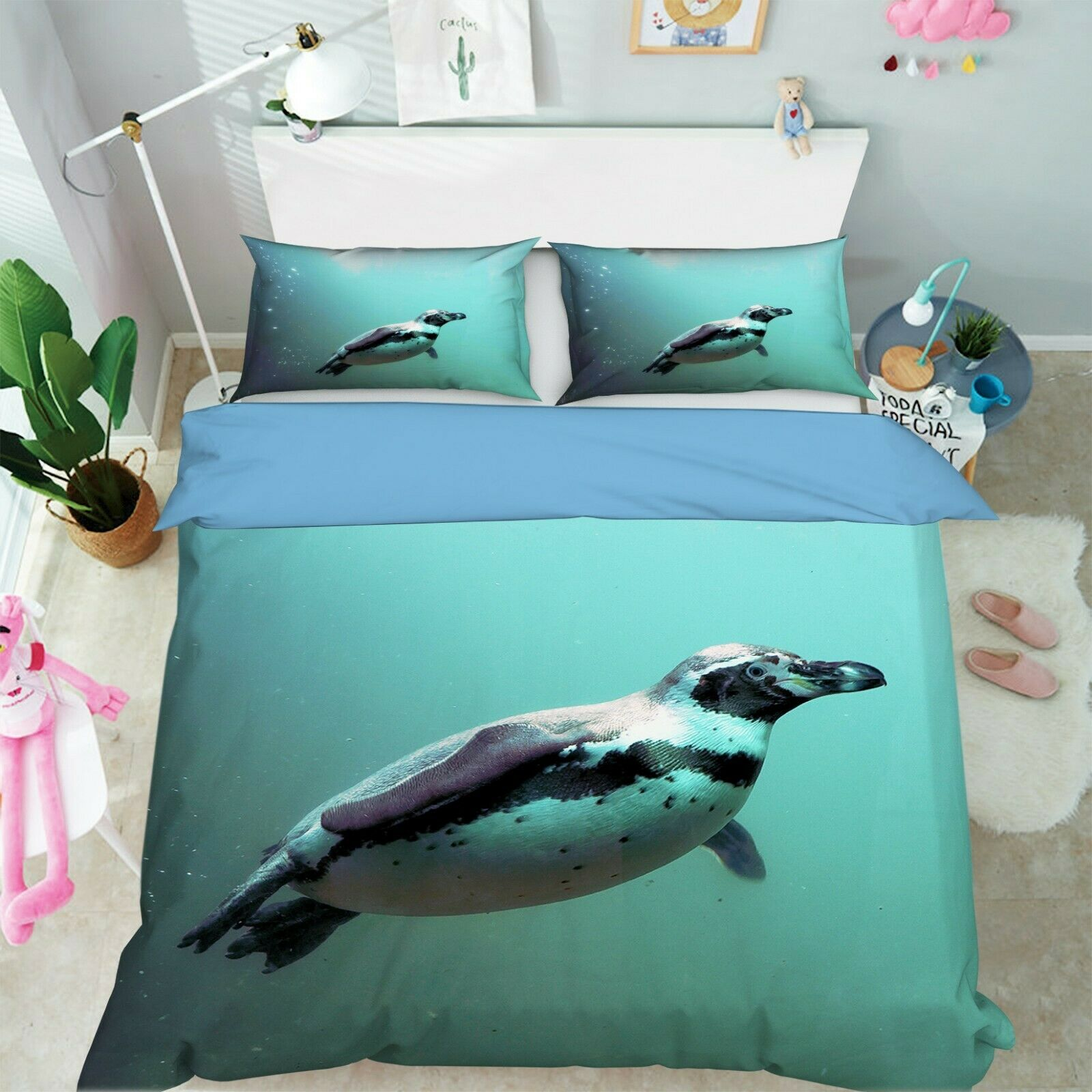 3D Penguin I77 Animal Bed Pillowcases Quilt Duvet Cover Queen King Angelia