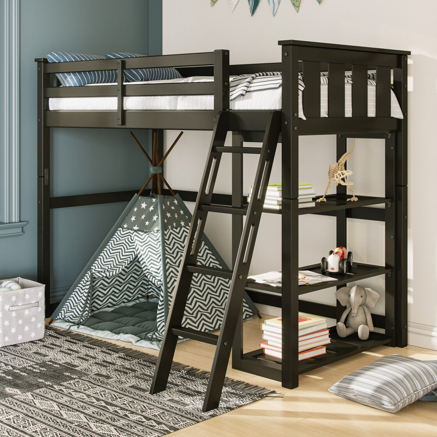 Twin Sized Kids Bed Headboard Nighstand Set W Drawers Home Bedroom Furniture For Sale Online Ebay