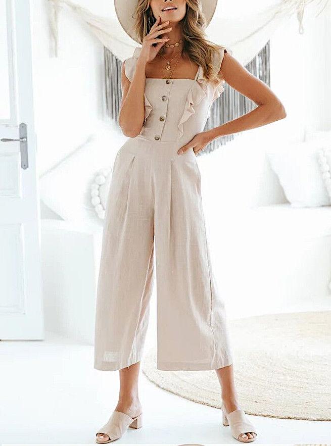 Tuta Pantaloni Donna Tinta Unita Woman Overall Plain Long Jumpsuit 660022 P