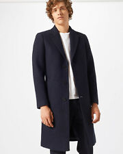 Jigsaw Boiled Wool Coat Mens New Blue Navy