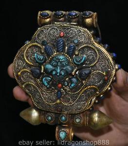 6-034-vieux-bouddhisme-tibetain-argent-fil-gemme-bete-4-bras-boite-de-Chenrezig
