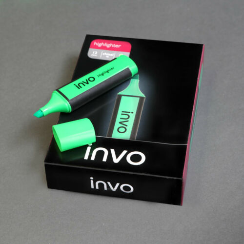 Box of 12 INVO 107295 Highlighter Chisel Tip Green RRP £14.97 CLEARANCE SALE