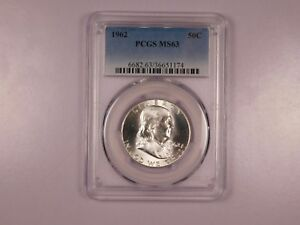 1962-PCGS-MS63-50C-Franklin-Half-Dollar-Uncirculated-Certified-Coin-EC1165