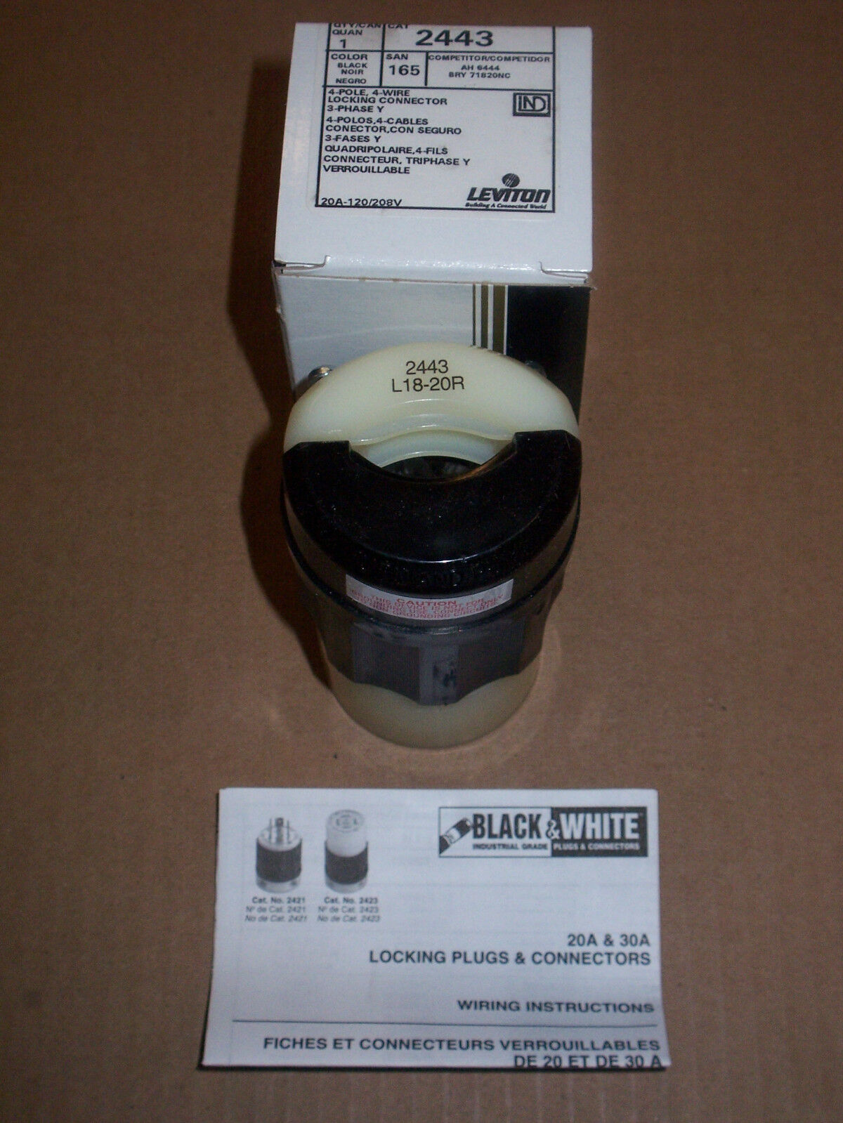 Leviton L18 20 Locking Connector 20a 120 208v 2443 Ebay 3 Phase Wiring Plugs Norton Secured Powered By Verisign