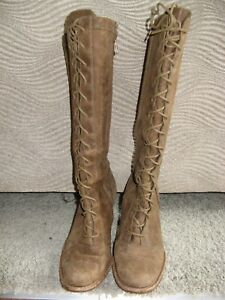 UGG BROWN LEATHER LACED Zipper BOOTS - Women's SIZE 7   eBay