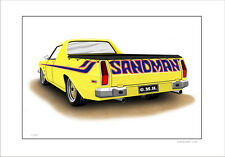 6 CAR COLOURS HOLDEN  HQ  SANDMAN UTE LIMITED EDITION CAR DRAWING  PRINT