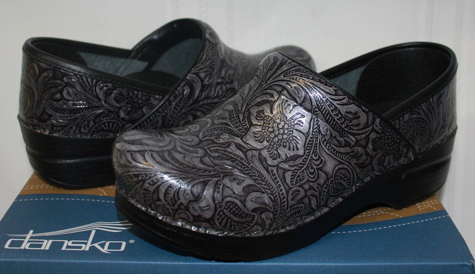 Dansko Women's Professional Grey Tooled Tooled Tooled Leather Clogs NEW 9da62d