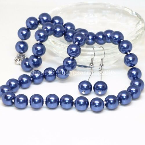 8 mm 10 mm 12 mm bleu foncé Akoya Shell Pearl PERLES rondes Collier Boucles d/'oreilles Set
