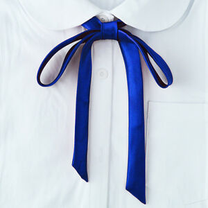 Satin-Neck-Tie-Ultra-Skinny-Scarf-Bowknot-Collar-Shirt-Uniform-Plain-Ribbon-New