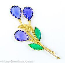 SCHREINER HUGE VTG PURPLE BLUE GREEN Crystal Rhinestone Flower Leaf Gold Brooch