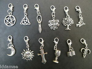Details About Clip On Wiccan Bracelet Charm Pentacle Athame Chalice Witch Wicca Pagan Silver