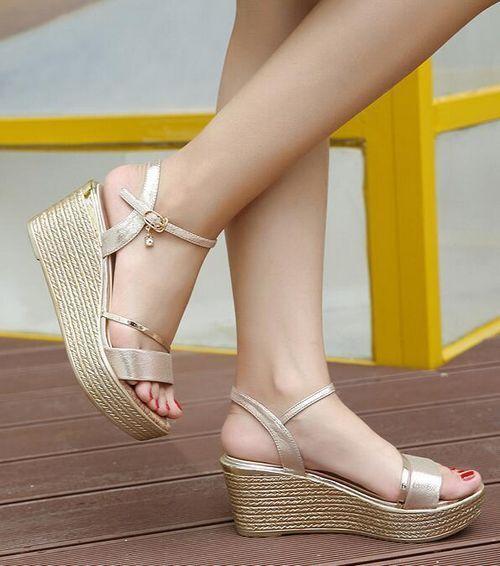 Sandales chaussons femme sabot or corde compensé 7 cm mer confortable 1183