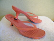 AMAZON NATIVO  md in BRAZIL ORANGE JELLY THONG HEELS SZ 9 MASSAGE FOOT BED