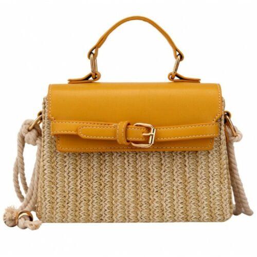 Handtasche Damen Leder Stroh Kordelriemen Umhängetasche Sommer Tasche Geflochten