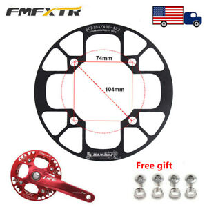 104bcd-MTB-Road-Bike-Chain-Guard-Crankset-Chainring-Protect-Cover-amp-bolts-32T-42T