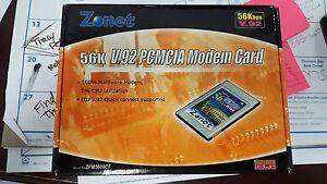 ZONET 56k v.92 PCMCIA Modem Card