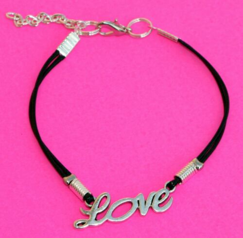 Love bracelet  black cord Bracelet cordon noir pendentif /' Love /' argenté