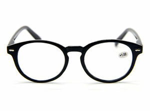 Classic Hippies Black Frame Oval Spring Hinges Reading Glasses Readers 1.0~4.0