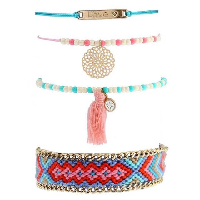 4 Pcs/Set Tassels Multicolor Braided Boho Ethnic Bracelets Bangles for Women HOT