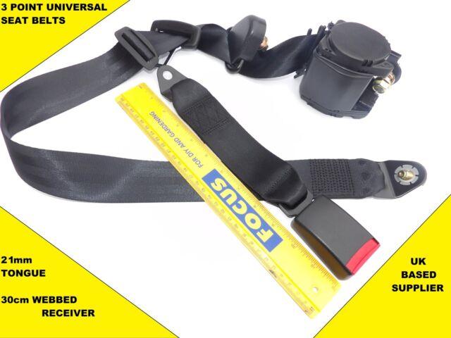 4x Universal 3 Point Seat Belts 3m Length & 30cm Webbed Buckles. E4. UK. VAT Inc