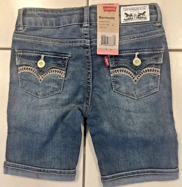 0598b9379ca Girls Levi Adjustable Waist Flap Pocket Bermuda Jean Shorts Sz 4 20 / 23 W  NEW