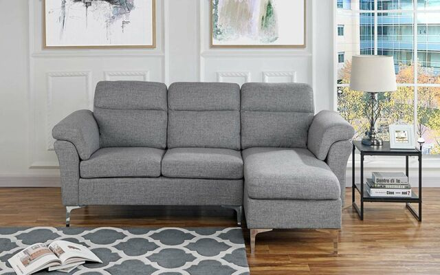 Contemporary Linen Fabric Sectional Sofa, Small Space Couch, Light Grey