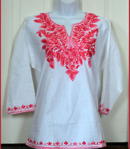 Pink-Embroidered-White-Color-Cotton-Tunic-Top-Kurti-Blouse-from-India-2XL