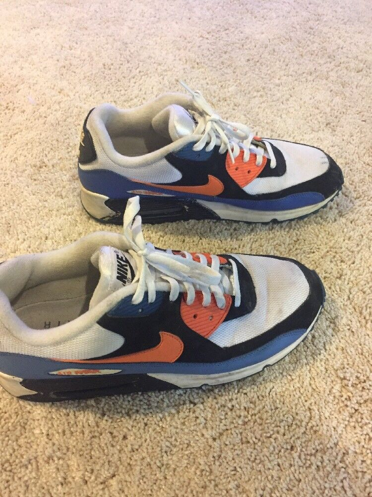 Nike Air Max 90 White Blue And Orange Size 11.5