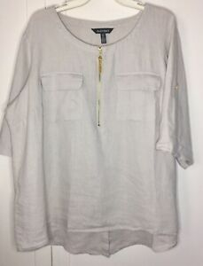 Ellen-Tracy-Linen-Ecru-Ivory-3-4-Roll-Tab-Sleeve-Tunic-Top-Shirt-1X