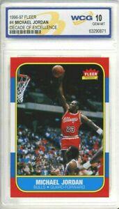 MICHAEL JORDAN 1996-97 FLEER #4 DECADE OF EXCELLENCE 1986 ROOKIE CARD GEM-MT 10