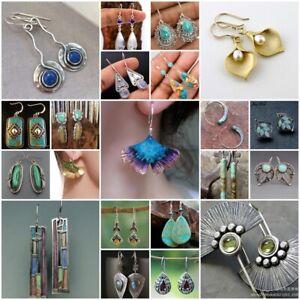 925-Silver-Vintage-Turquoise-Dangle-Ear-Hook-Boho-Hoop-Women-Jewelry-Earrings