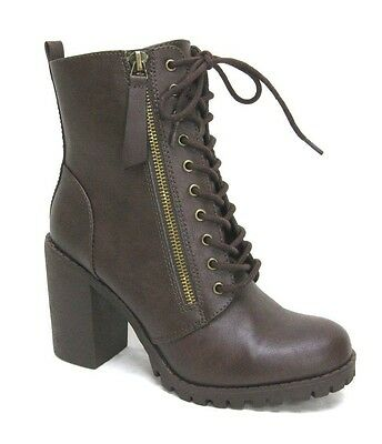 WONEN'S CHUNKY BLOCK LUG HEEL ARMY  MILITARY ANKLE LACE UP COMBAT BOOITES BOOTS