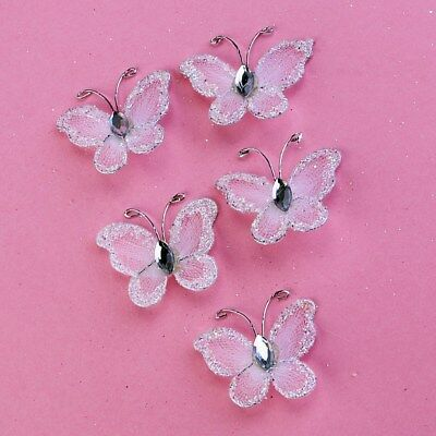 50pcs Wired Mesh Stocking Glitter Butterflies with Gem DIY Scrapbooking Crafts