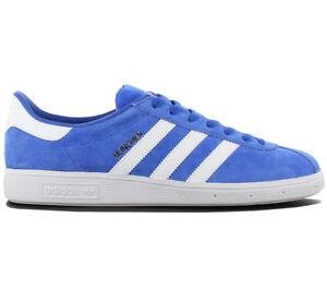 Adidas-Originals-Munchen-Leather-Zapatillas-Estilo-Deportivas-para-Hombre-Azul
