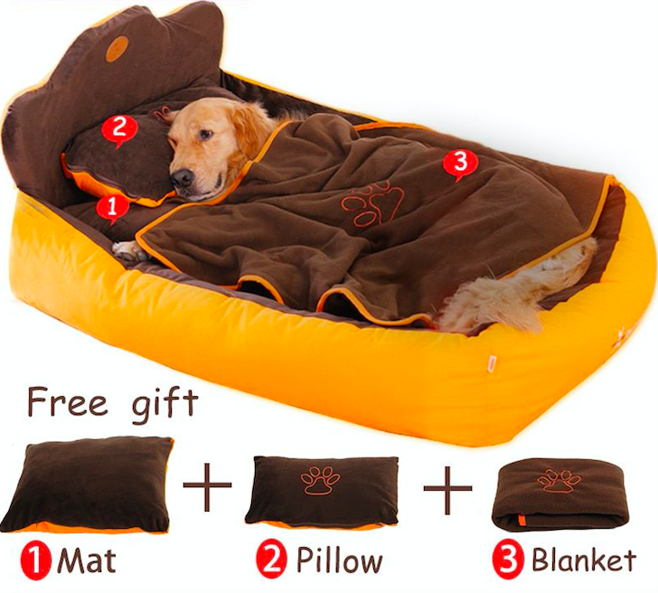 Pet Cat Dog Bed Completely Removable Washable Double Sided Pillow Blanket 3pcs