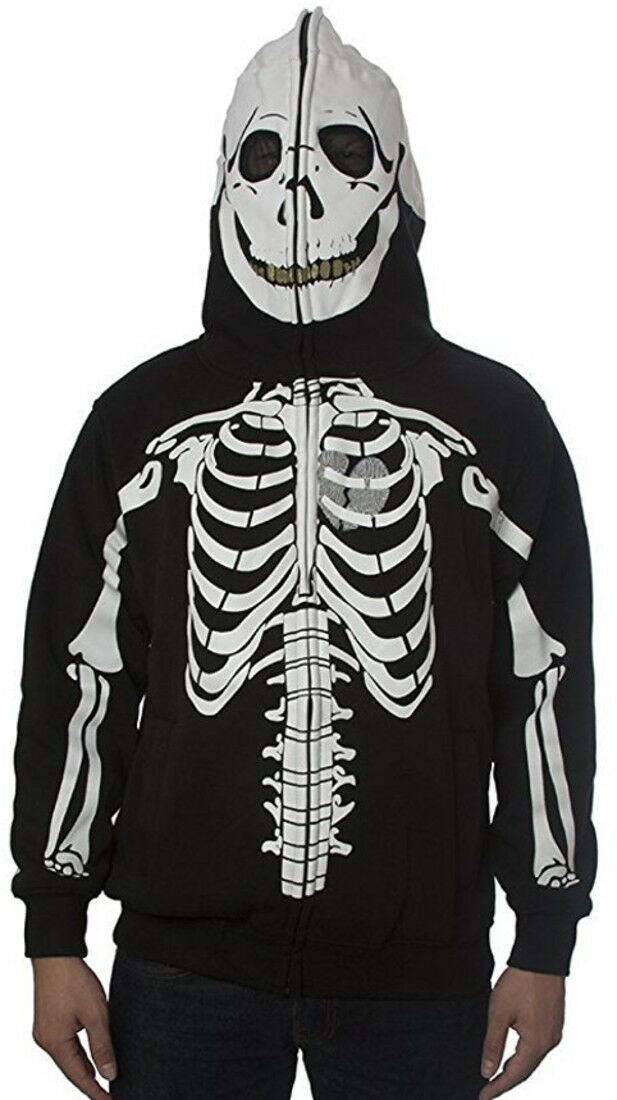 New Men Skeleton Full Zipper Hoodie Sweatshirt horror Halloween bone scary ghost