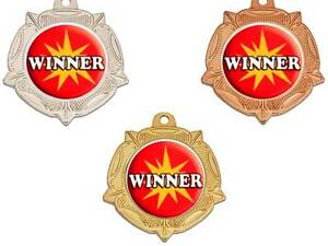 metal 40 mm Winner medal & ribbon trophy free engraving any sport trophies