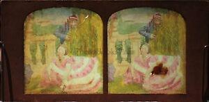 Scena Da Genere Belle Donna Robe Foto Diorama Stereo Vintage Albumina Ca 1860