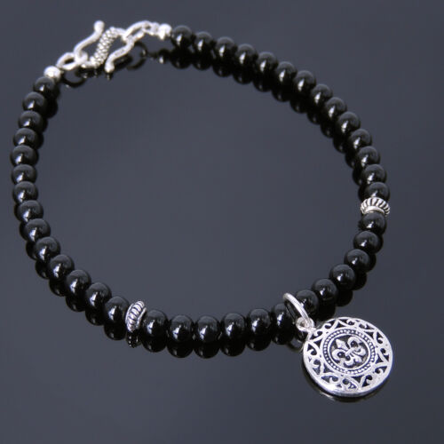 Men/'s Women Bright Black Onyx Sterling Silver Bracelet Fleur de Lis Pendentif 736