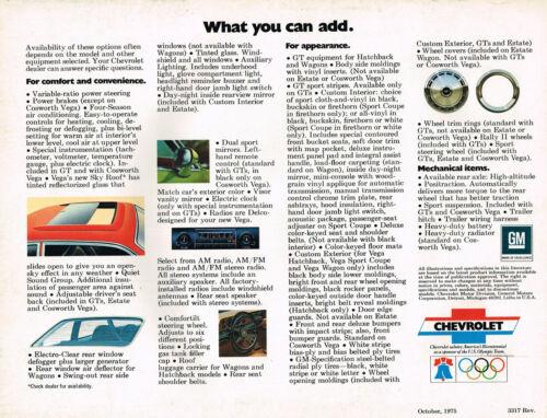 /'76 COSWORTH,GT,HATCHBACK,SPORT COUPE 1976 Chevy VEGA Brochure//Catalog