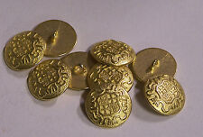 8pc 15mm Germanic Teutonic Inspired Bright Gold Metal Military Button 2102