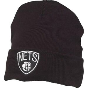 finest selection f0ab0 abead Image is loading Brooklyn-Nets-Cuff-Knit-Beanie-Black-New-w-